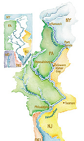Watercolor Map for the Delaware Water Gap Exhibit